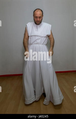 Dervish Robing, Wearing Destegul, Tennure Support without button, without bracket, Yaqup Baba of Fatih, Istanbul, - Stock Photo