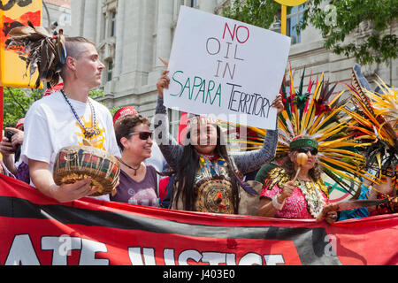 Native Americans protesting during People's Climate March - April 29, 2017, Washington, DC USA - Stock Photo