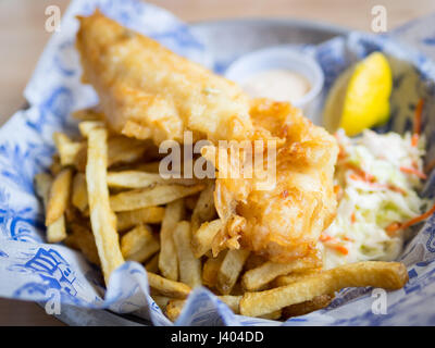 Fish and chips (haddock and chips) from Grandin Fish 'N' Chips, a popular fish and chips shop in Edmonton, Alberta, - Stock Photo