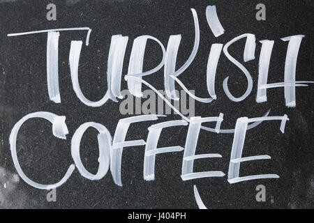information Sign for Turkish coffee Written on a Blackboard in Chalk - Stock Photo