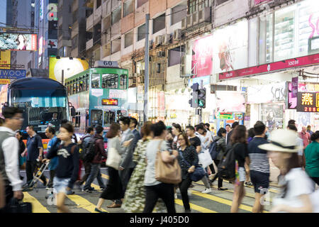 Hong Kong Tram, City of Night Street Photography, Hong Kong City View at Night - Stock Photo