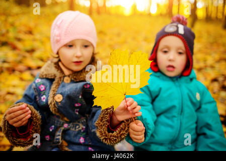 Brothers and sister playing outside in Autumn leaves - Stock Photo