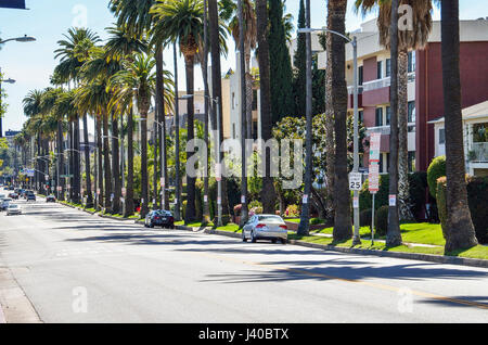 Los Angeles, USA - March 9, 2014: Rangely Beverly street in downtown LA with residential houses and palm trees - Stock Photo