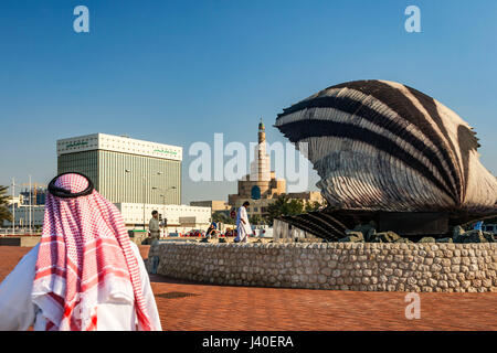Qatar Doha  oyster fountain with pearl along the shore of Doha , Sheik, Mosque, Qatar Central Bank QCB, - Stock Photo
