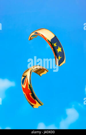 Broken Wedding Ring with Flags Symbolise Brexit - Stock Photo