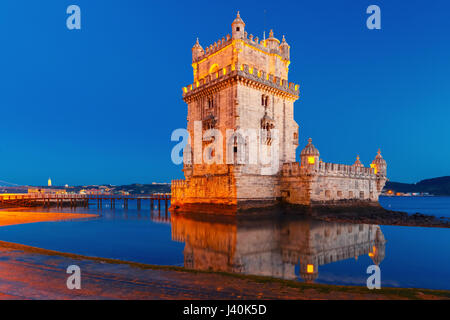 Belem Tower in Lisbon at night, Portugal - Stock Photo