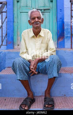 Old Rajasthani man, Jodhpur, Rajasthan, India - Stock Photo