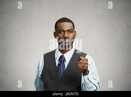 Closeup portrait unhappy Businessman giving thumb, finger Figa Gesture you are going to get zero Nothing isolated - Stock Photo