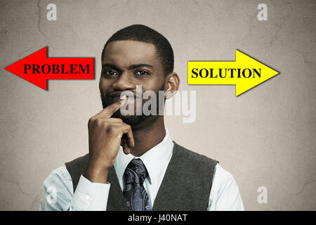 Closeup portrait business man thinking about something, finger on lips looking for solution of problem isolated - Stock Photo