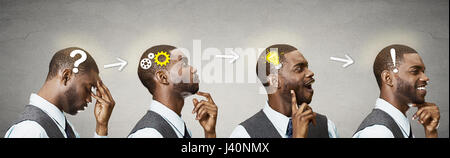 Emotional intelligence. Side view headhots sequence man thoughtful, thinking, finding solution, gear mechanism, - Stock Photo