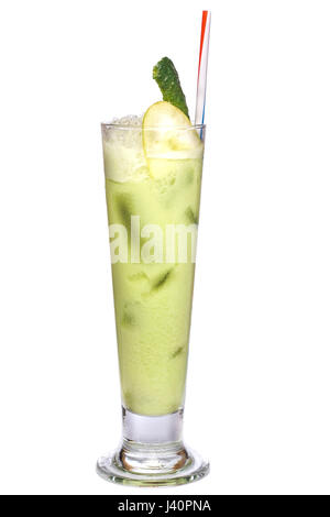 Close up of glass with iced cocktail with cucumber decoration isolated on a white background. - Stock Photo