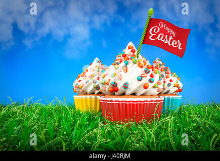 3D Rendering of Colorful Cupcakes in Grass, Easter Theme - Stock Photo