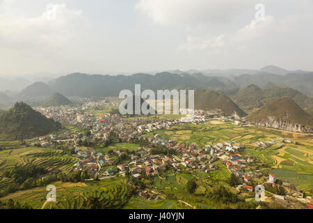 Karst features in a landscape at Ha Giang, Northen Vietnam - Stock Photo