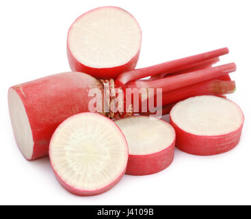 Closeup of red radish over white background - Stock Photo