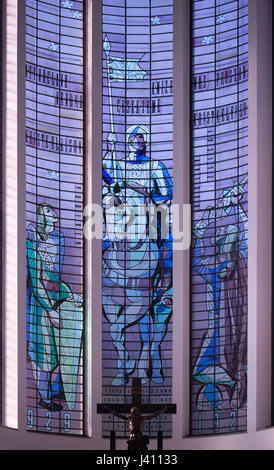 Saint Wenceslas depicted in the stained-glass window by Czech painter Josef Kaplický in the presbytery of Saint - Stock Photo