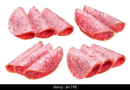Salami slices isolated on white background, with clipping path - Stock Photo