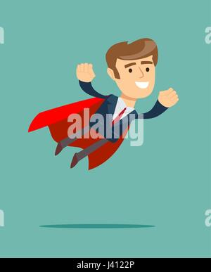 Businessman in superhero concept with red cover - Stock Photo