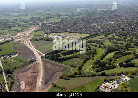 aerial view of the new Manchester Airport Link Road, UK - Stock Photo