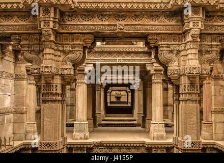 Adalaj stepwell - Indian Heritage tourist place, ahmedabad, gujarat - Stock Photo