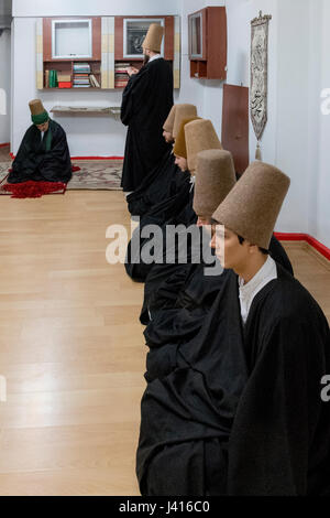 Dervishes during Sema at Yaqup Baba of Fatih, Istanbul, TURKEY -  18/12/2016. In Istanbul's neighbourhood of Fatih, - Stock Photo