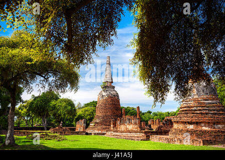 Big ruined Stupa at Wat Si Samphet in Ayuttaya historical capital of Thailand - Stock Photo