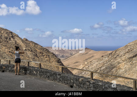Viewpoint, Degollada de Los Granadillos, Fuerteventura Canary Islands, Spain - Stock Photo