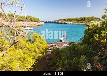 beach at Cala Sa Nau, tourist, Mediterranean Sea, near Portocolom, Majorca, Balearic Islands, Spain, Europe - Stock Photo