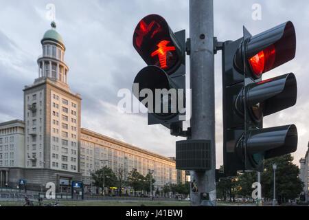 Traffic light showing red man, Frankfurter Tor, Friedrichshain, Berlin, Germany - Stock Photo