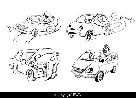 Funny sketches of people and cars - Stock Photo
