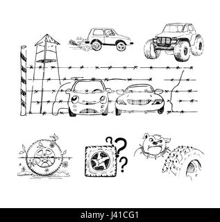 Funny sketches about cars and their accessories - Stock Photo