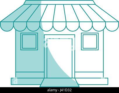 blue shading silhouette cartoon facade shop store - Stock Photo