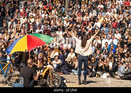 Open stage Karaoke, Mauerpark, Prenzlauer Berg, Berlin, Germany - Stock Photo