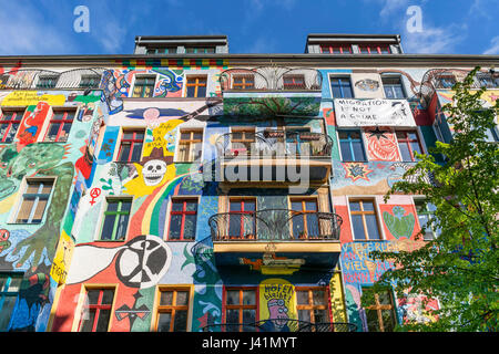 Painted facade in Friedrichshain, colorful wall painting,  Berlin, Germany - Stock Photo