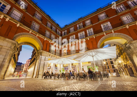 Plaza Mayor square by night . Madrid, Spain. - Stock Photo
