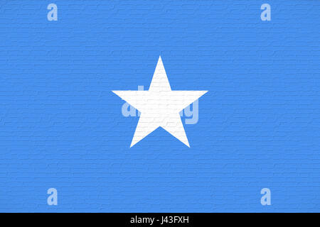 Illustration of the national flag of Somalia looking like it is painted on a wall. - Stock Photo