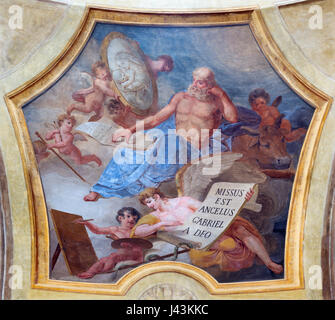 TURIN, ITALY - MARCH 13, 2017: The fresco of St. Luke the Evangelist in church Chiesa di San Lorenzo by Carlo Felice - Stock Photo
