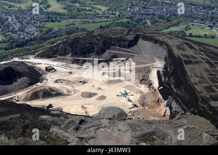 aerial view of a quarry in the Pennines, UK - Stock Photo