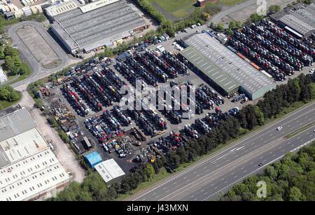 aerial view of a car scrapyard breakers yard, Lancashire, UK - Stock Photo