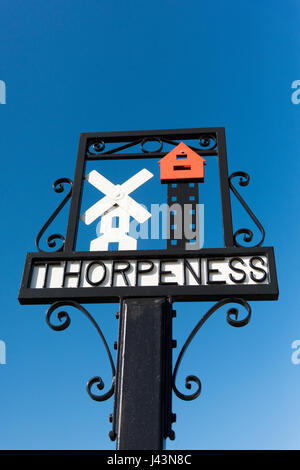 The village sign at Thorpeness Suffolk UK - Stock Photo