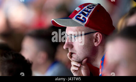 Paris, France. 05th May, 2017. The Ice Hockey World Championships match Czech Republic vs Canada, in Paris, France, on May 5, 2017. Czech fan watches the game. Credit: Michal Kamaryt/CTK Photo/Alamy Live News Stock Photo