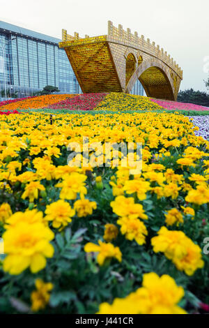 Beijing, China. 9th May, 2017. Photo taken on May 9, 2017 shows the 'Golden Bridge on Silk Road' structure in Beijing - Stock Photo