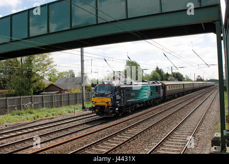 Lancashire, UK. 9th May, 2017. Direct Rail Services have launched a new class of electric locomotives with a special - Stock Photo