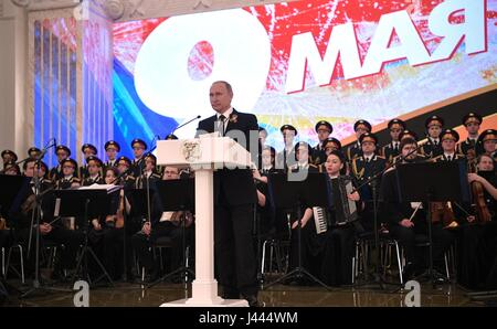 Moscow, Russia. 9th May, 2017. Russian President Vladimir Putin delivers remarks during a reception celebrating - Stock Photo