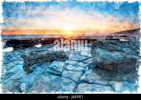 Water colour painting of sunset over Dunraven Bay in the Vale of Glamorgan on the Welsh coast - Stock Photo
