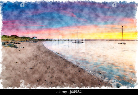 Watercolour painting of sunrise over the beach at Crow Point near Barnstaple on the north Devon coast - Stock Photo
