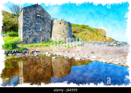 Watercolour painting of the ruins of an old serpentine works at Carleon Cove on the Lizard Peninsula in Cornwall - Stock Photo