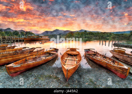 Watercolour painting of a fiery sunset over boats on the shore of Derwentwater at Keswick in the Lake District in - Stock Photo