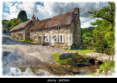 Water colour painting of beautiful thatched cottages beside a ford at Ponsworthy on Dartmoor National Park in Devon - Stock Photo