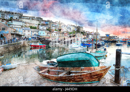Watercolour painting of dusk at Brixham harbour an historic fishing port in the Torbay district on the south coast - Stock Photo