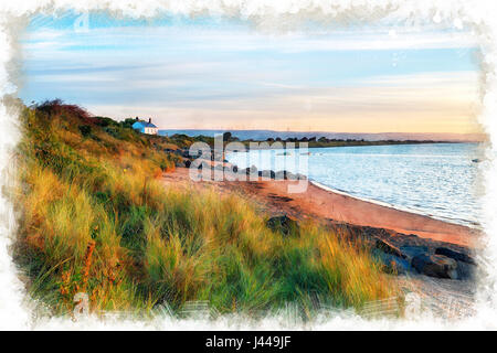 A water colour painting of the beach at Crow Point at Braunton Burrows near Barnstaple on the Devon coastline - Stock Photo